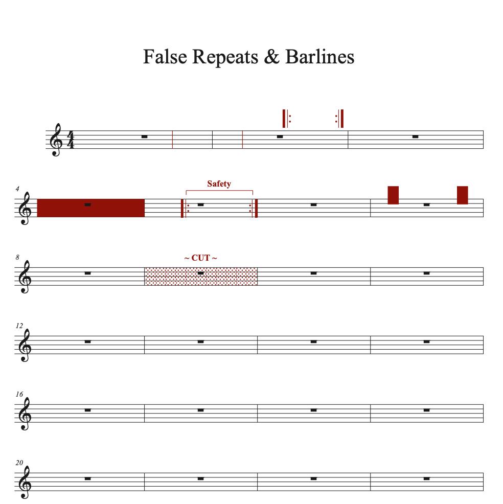 False Repeats and Barline sample