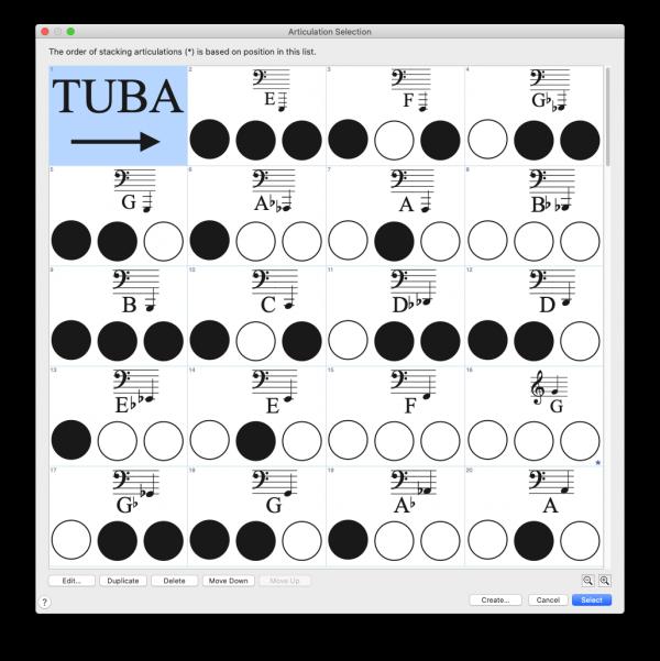 Sample of Tuba palette